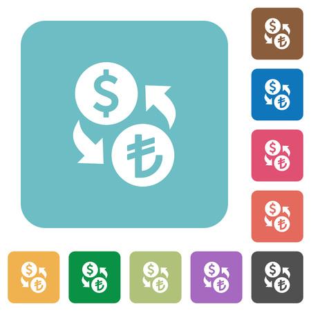 lira: Flat Dollar Lira exchange icons on rounded square color backgrounds. Illustration