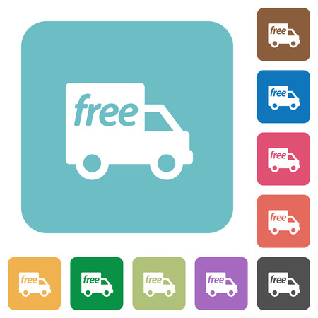 shipper: Flat free shipping icons on rounded square color backgrounds.