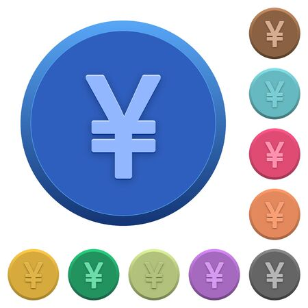 yen sign: Set of round color embossed Yen sign buttons