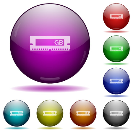 ddr: Set of color RAM module glass sphere buttons with shadows. Illustration