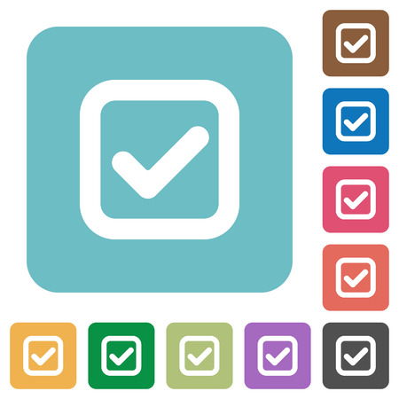 checkbox: Flat checkbox icons on rounded square color backgrounds. Illustration
