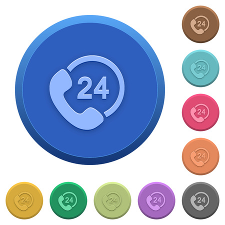 availability: Set of round color embossed 24 hour services buttons