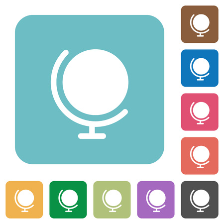 Flat globe icons on rounded square color backgrounds.