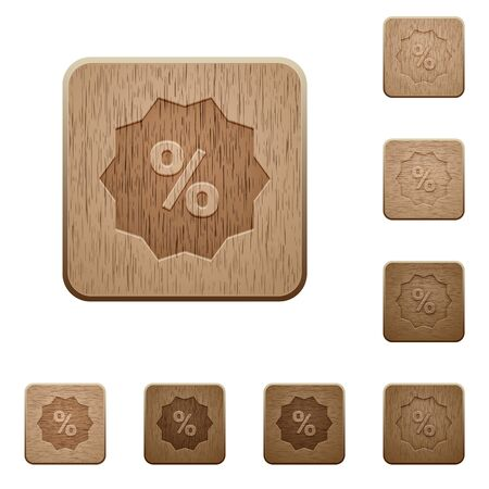 discount buttons: Set of carved wooden discount buttons in 8 variations. Illustration