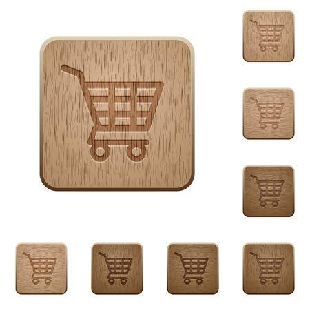 variations set: Set of carved wooden Shopping cart buttons in 8 variations. Illustration