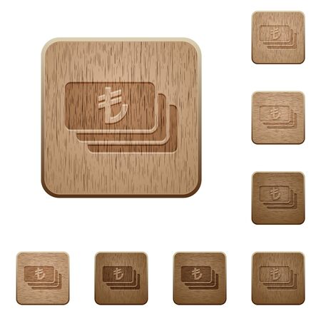 lira: Set of carved wooden Turkish Lira banknotes buttons in 8 variations.
