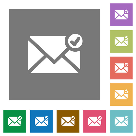 sent: Mail sent flat icon set on color square background.