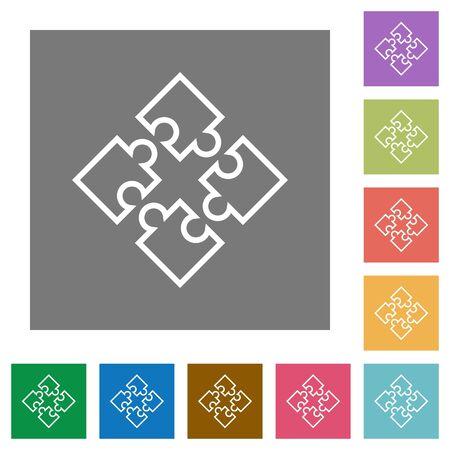 plugins: Puzzle contour flat icon set on color square background. Illustration