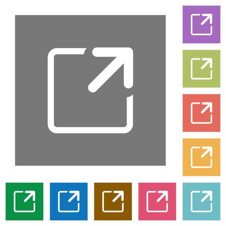 arrow icon: Maximize window flat icon set on color square background.