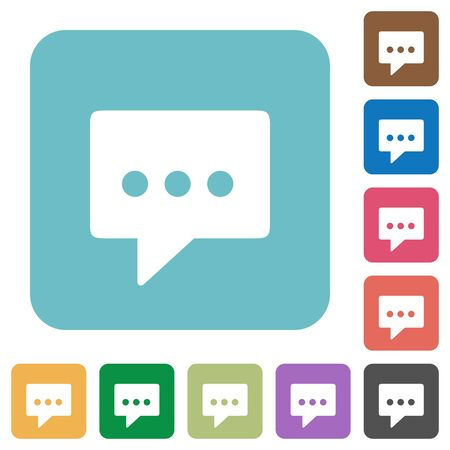 rounded: Flat working chat icons on rounded square color backgrounds.
