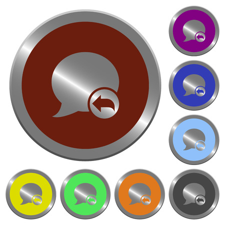 reply: Set of color glossy coin-like Reply blog comment buttons. Illustration