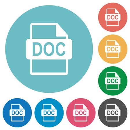filetype: Flat DOC file format icon set on round color background. Illustration
