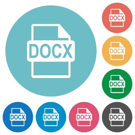 filetype: Flat DOCX file format icon set on round color background.