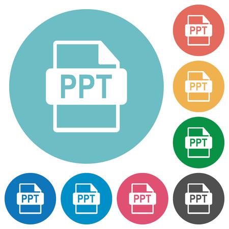 Flat PPT file format icon set on round color background. Illustration