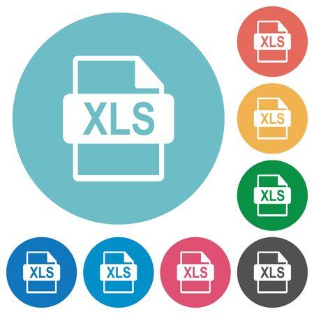 filetype: Flat XLS file format icon set on round color background. Illustration