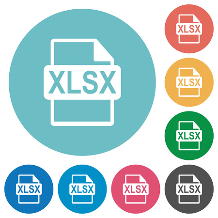 filetype: Flat XLSX file format icon set on round color background.