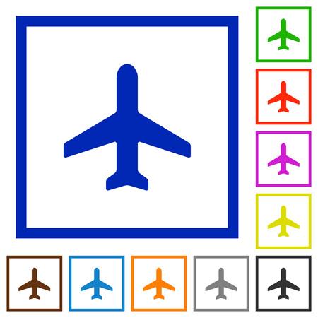 aeronautics: Set of color square framed airplane flat icons