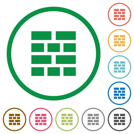 neighbor: Set of Brick wall color round outlined flat icons on white background Illustration