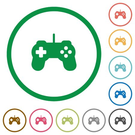 controling: Set of Game controller color round outlined flat icons on white background