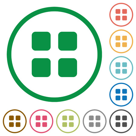 thumbnail: Set of Large thumbnail view color round outlined flat icons on white background