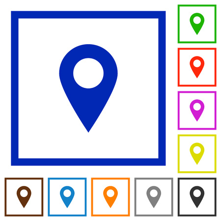 routing: Set of color square framed Location pin flat icons Illustration