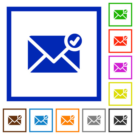 posted: Set of color square framed Mail sent flat icons Illustration