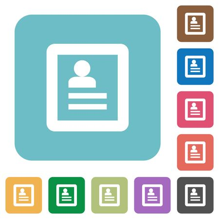 account form: Flat user profile icons on rounded square color backgrounds.