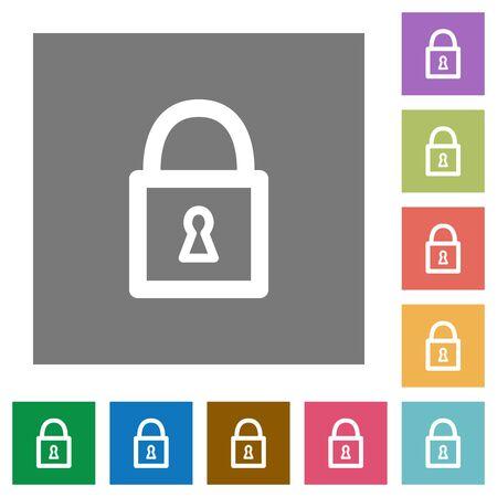unaccessible: Locked padlock flat icon set on color square background. Illustration