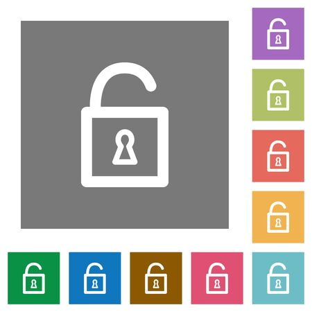 decrypt: Unlocked padlock flat icon set on color square background.