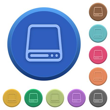hard disk drive: Set of round color embossed hard disk drive buttons Illustration