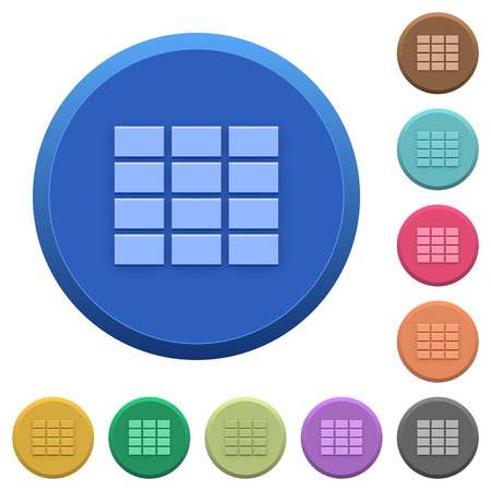 spreadsheet: Set of round color embossed spreadsheet buttons