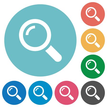 macro: Flat magnifier icon set on round color background. Illustration
