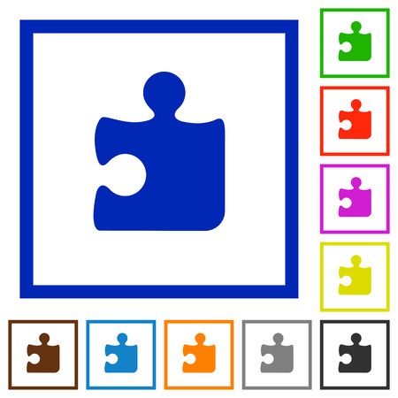 framed: Set of color square framed Puzzle flat icons