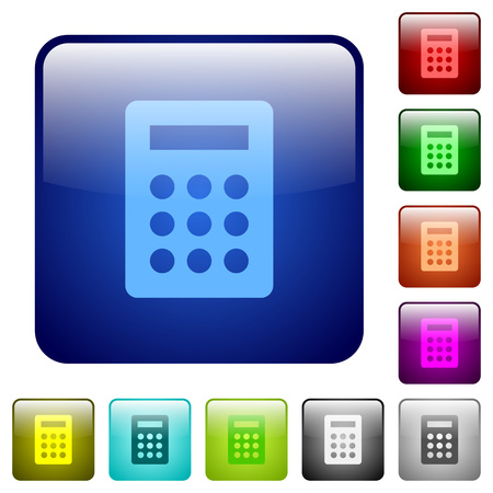 calc: Set of calculator color glass rounded square buttons Illustration