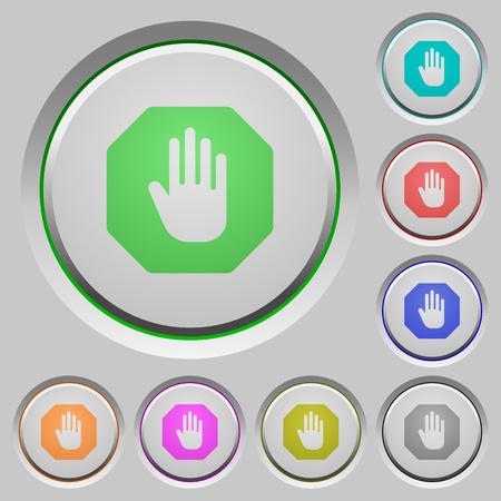 bevel: Set of color Stop sign sunk push buttons. Illustration