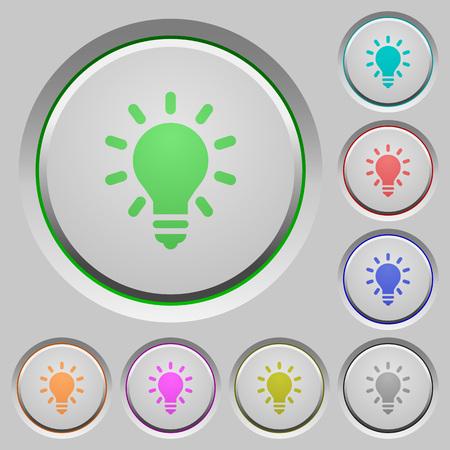 lighting bulb: Set of color Lighting bulb sunk push buttons. Illustration