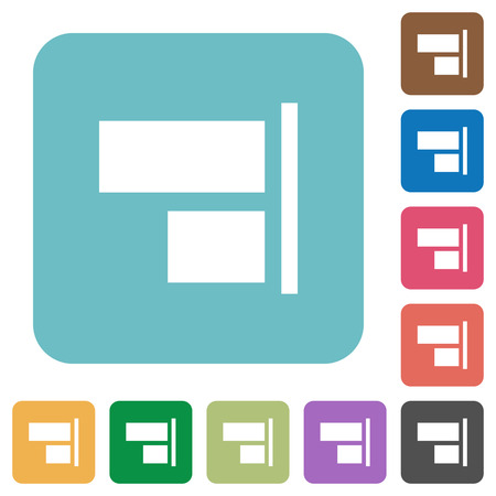 align: Flat align to right icons on rounded square color backgrounds.