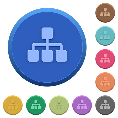 Set of round color embossed network buttons Illustration