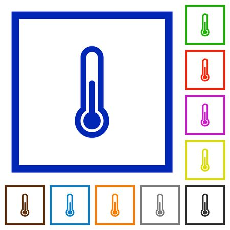 chill: Set of color square framed thermometer flat icons