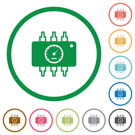tuning: Set of Chip tuning color round outlined flat icons on white background