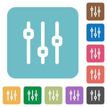 Vlakke pictogrammen verticale verstelling op afgeronde vierkante gekleurde achtergronden. Vector Illustratie