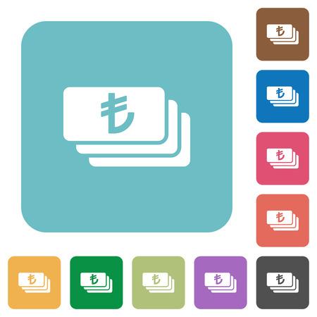 lira: Flat Turkish Lira banknotes icons on rounded square color backgrounds. Illustration