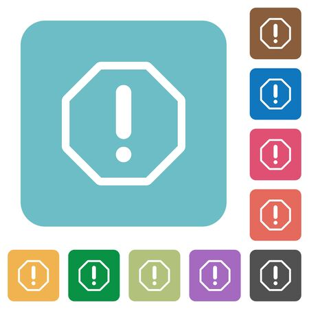 malfunction: Flat error sign icons on rounded square color backgrounds. Illustration
