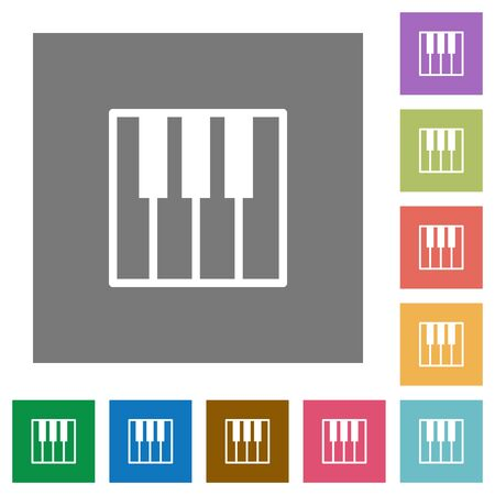tact: Piano keyboard flat icon set on color square background. Illustration