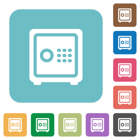 pincode: Flat strong box icons on rounded square color backgrounds. Illustration
