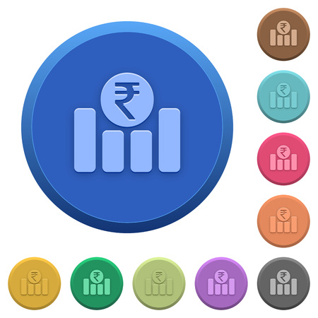 Set of round color embossed Indian Rupee graph buttons Illustration