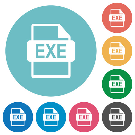 Flat EXE file format icon set on round color background.