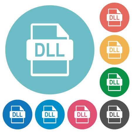 filetype: Flat DLL file format icon set on round color background.