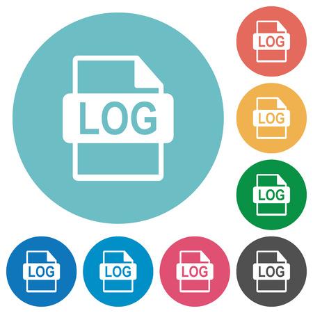 Flat LOG file format icon set on round color background. Ilustração