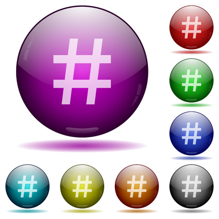 Set of color Hashtag glass sphere buttons with shadows.